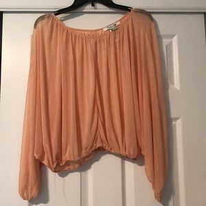 Tops - Peach long sleeve sheer top